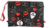 New Girls/Ladies Black 1D Cosmetic Bags, Branded Pull Zips - Black/Red - UK SIZE 1