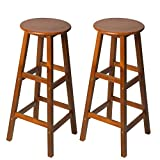 Picture Of HOMCOM Set of 2 Acacia Hardwood Wooden Bar Stools with Footrest Round for Counter Café Kitchen Breakfast Pub & Conservatory Teak Colour