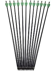 """12 Stück Bogenpfeile Fiberglaspfeile Pfeile Bogensport für bogenschießen 30"""" ø8 mm Spine 500 mit abgeschraubenen Spitzen Fiberglaspfeil für Recurvebogen Sportbogen Bogenschiessen"""