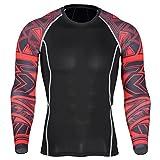 YiJee Herren Sport T-Shirts Schnelltrocknend Lange Ärmel Fitness Kompressionsshirt Funktionswäsche Base Layer
