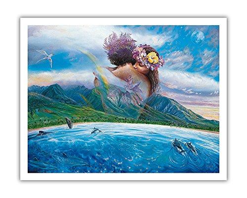 Pacifica Island Art Held in Den Armen der Heaven-Hawaiian Paar in Romantic Embrace-Original Farbe Malerei, Hawaiian Fine Art Print 11