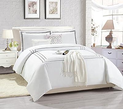 Super soft Embroidered Line Elegant Duvet Cover Duvet Set Bedding Set + 2 Pillow Case White Single Double King Size - low-cost UK light shop.
