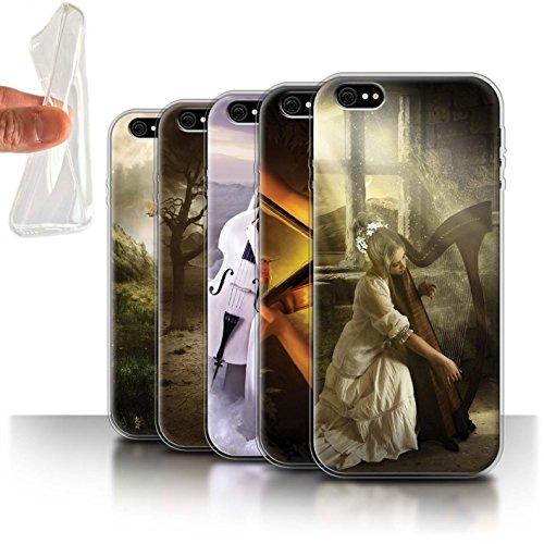 Officiel Elena Dudina Coque / Etui Gel TPU pour Apple iPhone 6S+/Plus / Violoncelle/Nuages Design / Réconfort Musique Collection Pack 6pcs