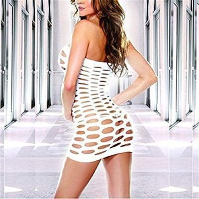 Surded Damen Körper Strumpf Dessous Bodysuit Nachtwäsche (Weiß)