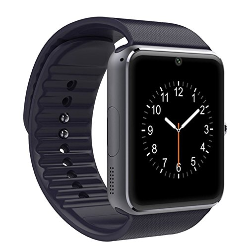 """LaTEC 1.54"""" Bluetooth Smart Watch Armband Telefon Uhr mit Kamera, SIM & Micro-SD Karten-Slot Schrittzähler LCD Touch Screen für Android Smartphones (Schwarz)"""
