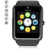 WISEUP GT08 Bluetooth Smartwatches Comunicación Móvil con Tarjeta SIM GSM GPRS para Android Samsung HTC (Negro)