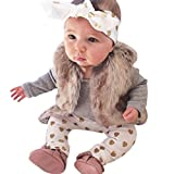 Switchali baby Deer Tops Strampler Hosen Hut 3PCS Outfits Kleidung (18M, Weiß)