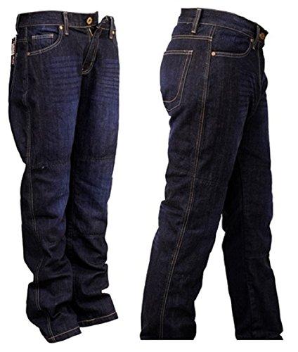 SGI-BIKE Herren DupontTM Kevlar® Motorrad Jeans Hose Motorradjeans mit 4X Protektoren (Blau) (W36/L31)