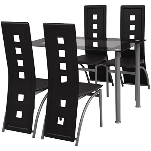 vidaXL Essgruppe Sitzgruppe 1 Esstisch Küchentisch 4 Esszimmerstühle Hochlehner