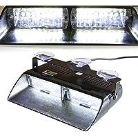 T Tocas (tm) ad alta intensità 16 Law Enforcement LED Emergenza Strobe Light Bar per auto camion Interni / Dash / parabrezza con Ventose, 18 Modalità flash (bianco)