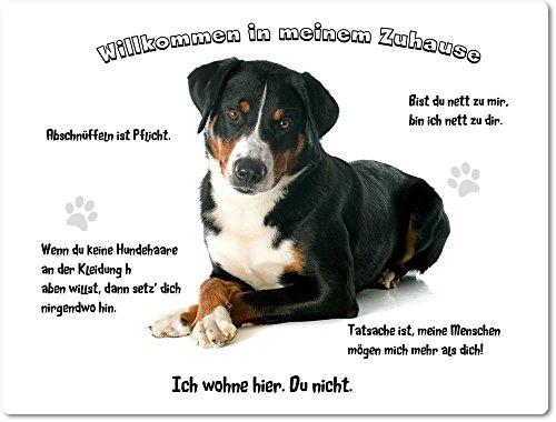 Merchandise for Fans Blechschild/Warnschild/Türschild - Aluminium - 20x30cm - - Willkommen in Meinem Zuhause - Motiv: Appenzeller Sennenhund - 18