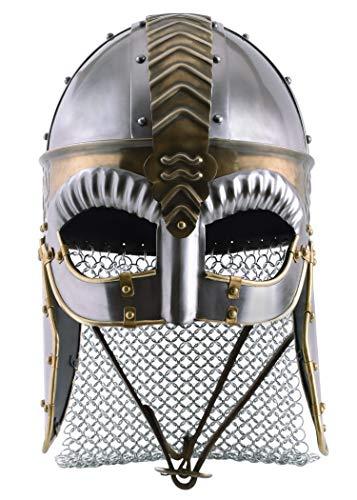 Stahl Kostüm Eisen Mann - Battle-Merchant Brillenhelm Beowulf mit Wangenklappen und Kettenbrünne mit verstellbarem Lederinlay - Wikingerhelm aus Stahl für Erwachsene