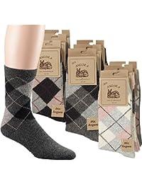3 Paar Socken mit Angora und Wolle in dezentem Karodesign