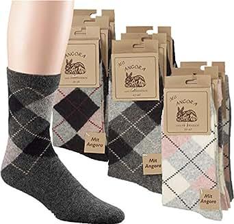 3 Paar Socken mit Angora und Wolle in dezentem Karodesign Größe 35/38