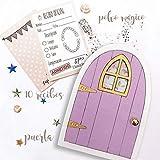 Puertas del ratoncito Pérez lila, recibos oficiales y polvo mágico