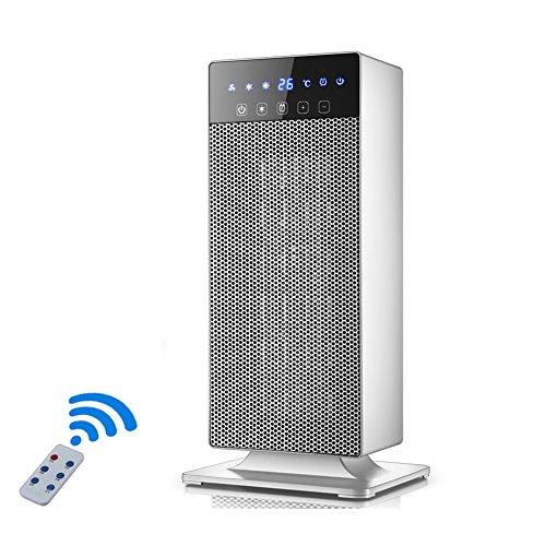 Radiateurs électriques YIXINY KPT-2000 Télécommande Cuboid Vertical Écran LED LCD Chauffage Céramique 2000W Blanc/Noir (Couleur : Blanc)