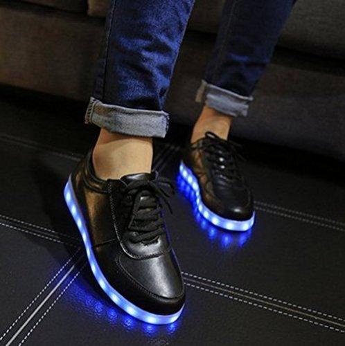 [Présents:petite serviette]JUNGLEST® Unisexe Hommes Femmes 7 couleurs de charge USB avec LED lumineux Couple Casual Sport Chaus Noir - noir