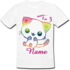 Sprinklecart Meow I'm Three Birthday T Shirt   Cute Cat Custom Name Printed 3rd Birthday Dress