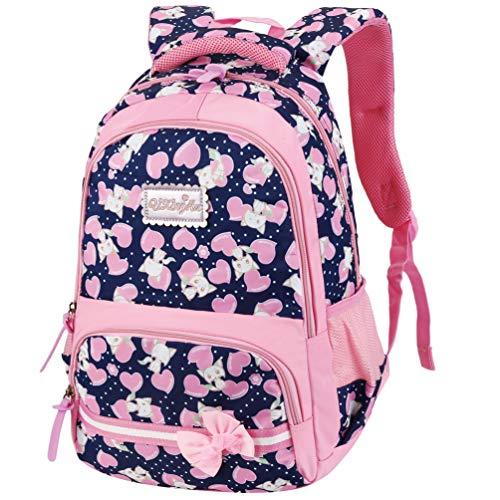 Vbiger zaino scuola zaino bambina zaino scuola elementare zaino borsa per scuola, i viaggi, gli sport all'aperto e altre occasioni (blu scuro)