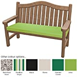 Outdoor Bench Pad Cushions - Fibre Filled Cushions for Benches - Colourful Water Resistant Garden Bench Pads by PEBBLE® (108x45x5cm, Lime Green)