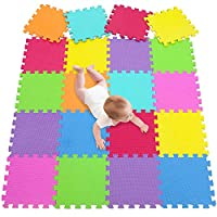 Foam Floor Tiles Foam Play Mat Large Baby Activity Jigsaw Puzzle Mat Big Foam Interlocking Playmats Soft Non Toxic EVA 20 Square Pcs for Children,Kids,Toddler Crawling Gym Yoga Sport meiqicool 09G20