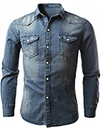 Camisas para Hombres Camisa de Mezclilla Retro Blusa de Vaquero Slim fit  Long Tops de Manga 3d7afa76de504