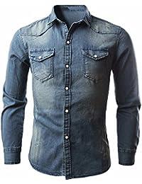 Cebbay Camisa de Mezclilla para Hombre Chaqueta de Mezclilla Fina para diseño Vintage Azul Celeste
