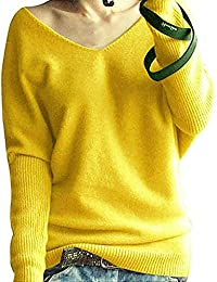 1085a06805ea0 Aswinfon Pull Femme Laine Maille Col V Hiver Chaud Manches Longues Tricot  Chandail Pullover Sweater Top