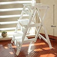 Preisvergleich für Leiter Hocker 3 Schritte Massivholz Haushalt Multifunktions Falten Treppenstuhl Dual-Use Indoor Climb Kleine Leiter Treppen Hocker (Farbe : Weiß)