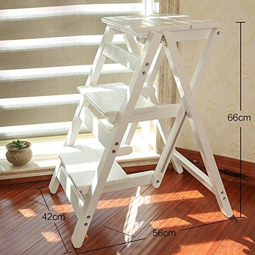 Leiter Hocker 3 Schritte Massivholz Haushalt Multifunktions Falten Treppenstuhl Dual-Use Indoor Climb Kleine Leiter Treppen Hocker (Farbe : Weiß)