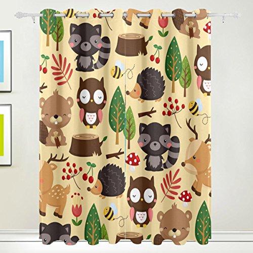 COOSUN Woodland Light Background Blackout Vorhänge Verdunklungs Thermal Insulated Polyester Grommet Top Blinde Vorhang für Schlafzimmer, Wohnzimmer, 2 Panel (55W x 84L inch) 84x55 in Mehrfarben (Woodland Thermal)