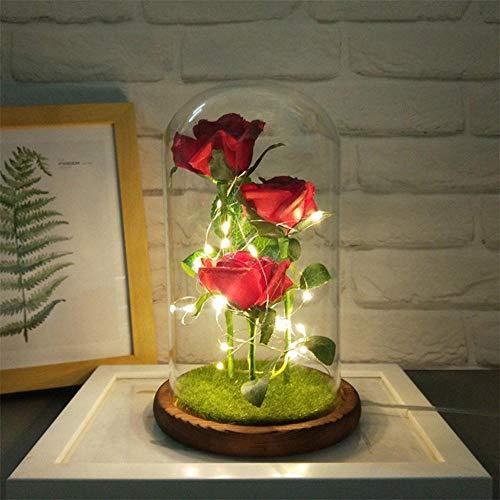 FOONEE Enchanted Rose Die Schöne und das Biest LED Enchanted Rose in Glaskuppel auf Holzsockel, ideales Geschenk für Sie Three Roses