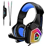 Tenswall Gaming Headset für PS4 Xbox One PC Nintendo Switch/3DS,  Blau