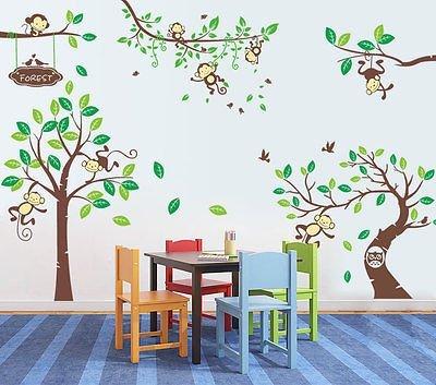 Premium Wandtattoo ZooYoo Wald Sticker ZooTiere Affe dekorativ Kinderzimmer XXXL(4+5+6)