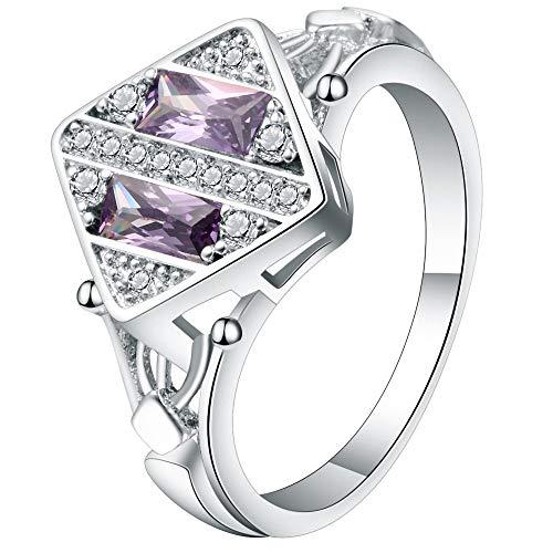 erne Farbe Partei Ehering Weibliche Modelle Lila Quadrat Cz Zirkon Mode Ring, 8 ()