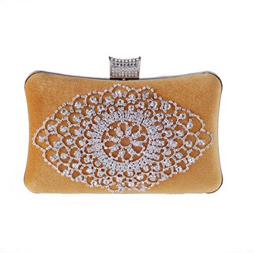 Neu Europa Und Die Vereinigten Staaten Mode Exquisite Diamant Bankett Tasche Kaschmir Hartschale Abendtasche Luxus Kupplung Gold
