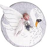 Fyore Kuschelige Hase Rund Krabbeldecke Gepolstert Spielmatte Groß Baumwolle Kinderteppich Babyzimmer Dekoration 90cm (Swan)