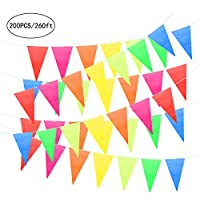 Unomor 80Meters Multicolor Bunting Banner Flags Double Sided Indoor/Outdoor Party Decoration (260Feet/200PCS)