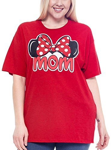 Disney Plus Size T-Shirt Mom Minnie Mouse Ears & Bow Red (XXXL)
