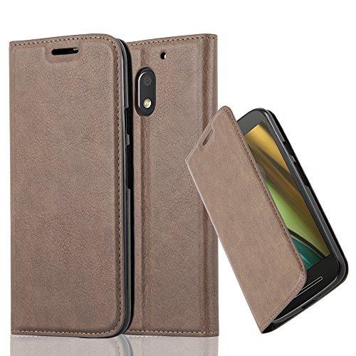 Cadorabo Hülle für Motorola Moto E3 - Hülle in Kaffee BRAUN – Handyhülle mit Magnetverschluss, Standfunktion und Kartenfach - Case Cover Schutzhülle Etui Tasche Book Klapp Style