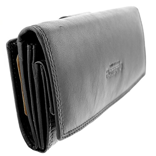 Weiche Damen Geldbörse (Weiches Nappa Damen Leder Geldbörsen Damen Portemonnaie schwarz mit viel Stauraum und 23 Kartenfächern (schwarz) G-872)