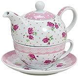 Tea for one 3 teiliges Set Teekanne mit Tasse und Unterteller im Rosen Blumen Motiv in der Farbe Rosa