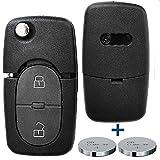 Klapp Schlüssel Gehäuse Funkschlüssel Fernbedienung Autoschlüssel 2 Tasten + 2x CR16 Batterie für AUDI