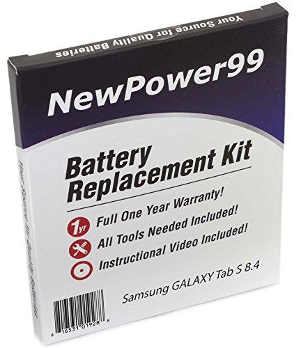 Akku-Austausch-Kit für das Samsung GALAXY Tab S 8.4 SM-T700, SM-T705, SM-T707, und SM-T705Y mit Installations-Video, Werkzeuge und langarbeitenden Akku