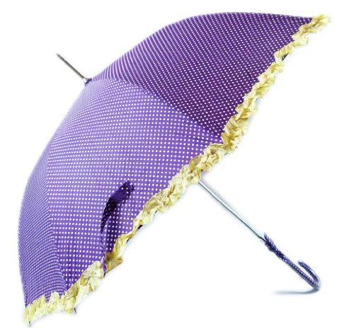 Wunderschöner Regenschirm Traumhafter Umbrella Prinzessinen Regenschirme Gepunktet im 50er Jahre Stil LILA