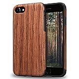 TENDLIN iPhone 7 Hülle/iPhone 8 Hülle mit Holz und Flexiblem TPU Silikon Weiche Schutzhülle für iPhone 7 und iPhone 8 (Rotes Sandelholz)