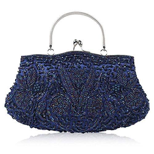Perlen Bestickte Abendtasche (Frauen 1920er Jahre Vintage Abendtasche, handgemachte bestickte Perlen Pailletten Abendtasche Handtasche Handtasche für Hochzeit Abendgesellschaft Abschlussball)