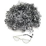 Kinder / Erwachsene Oma Kostüm Grau Locken Perücke & Brillen (WELT BUCH WOCHE / TAG)