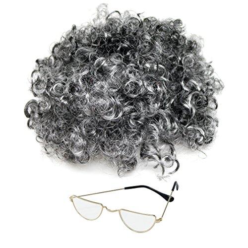 (Kinder / Erwachsene Oma Kostüm Grau Locken Perücke & Brillen (WELT BUCH WOCHE / TAG))