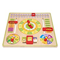 Zerodis. Kids Teaching Clock, Wooden Hanging Board Daily Cognitive Calendar Toy Early Educational Time Date Season Weather Learning Toy for Boys Girls